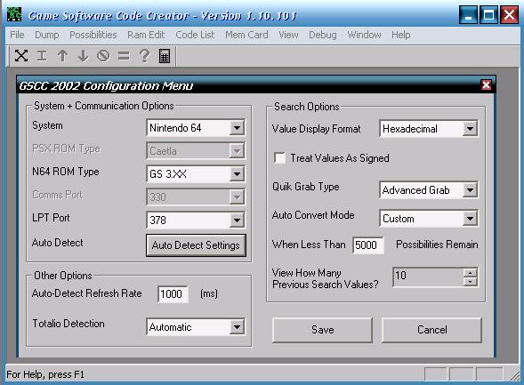 enhacklopedia acirc individual systems acirc hacking nintendo  gscc configuration menu